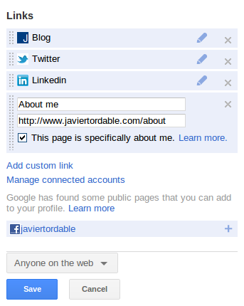 Indicate in Google+ that the page is about you