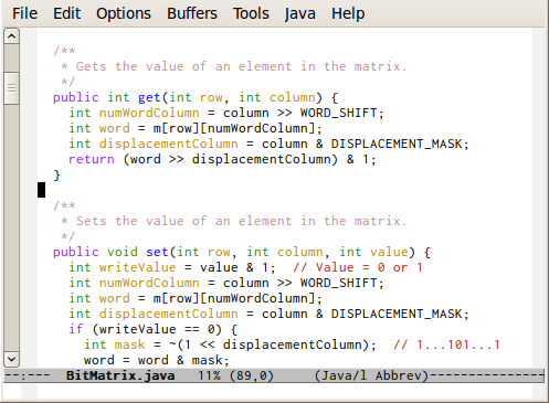 Screenshot of emacs with Inconsolata font