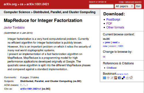 MapReduce for Integer Factorization in arXiv.