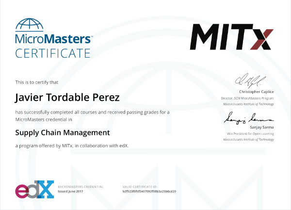 Micromasters certificate