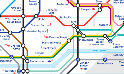 Detail of the London tube map